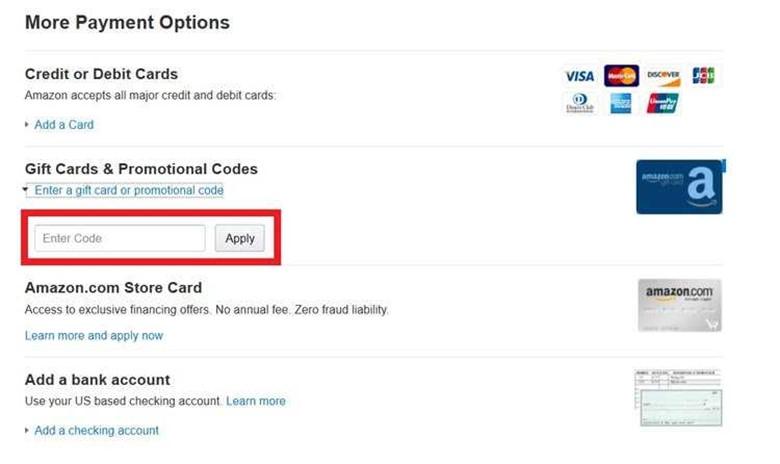 Amazon gift card apply promo code