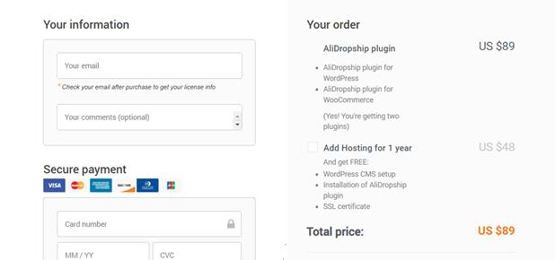 Alidropship plugin prices