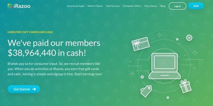 IRazoo earn PayPal Gift Card