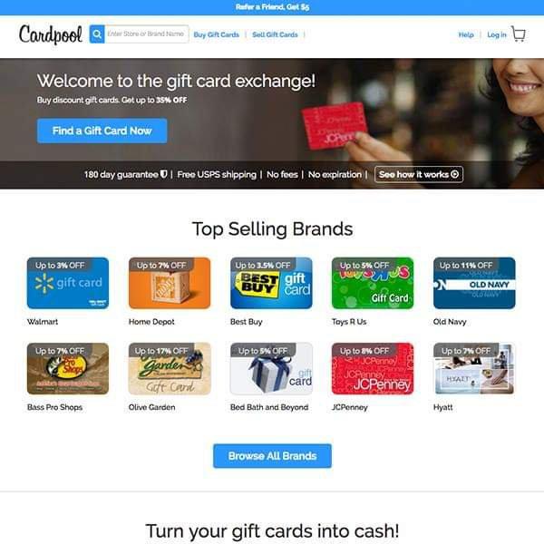 Carpool gift card coupons