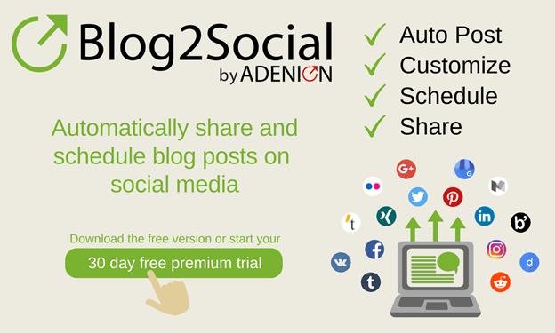 Blog2social auto publish WordPress posts on social media