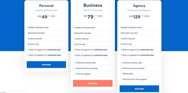 Neve Pro Theme Pricing Plan