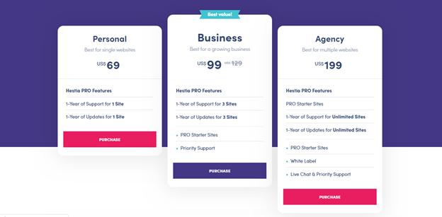 Hestia Pro Theme Pricing Plan
