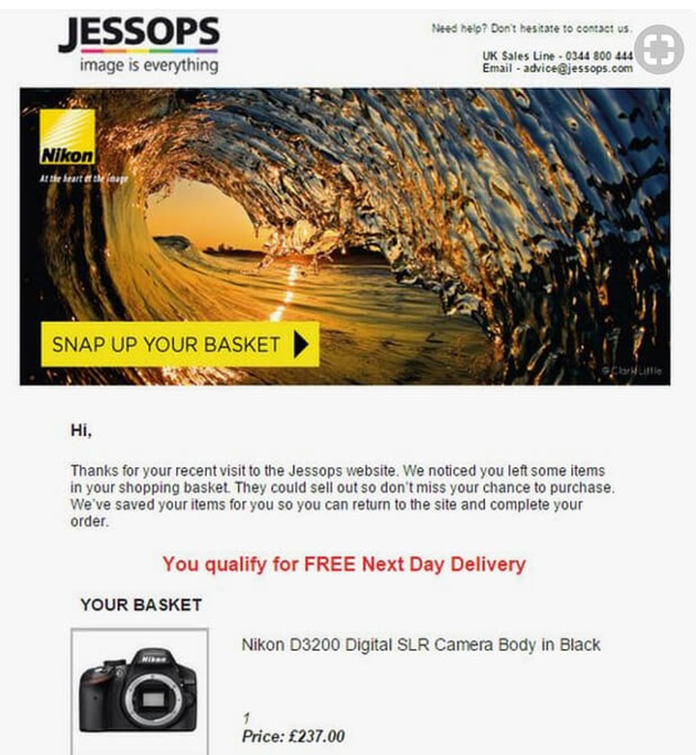 Jessops Abandonment Cart Email Template