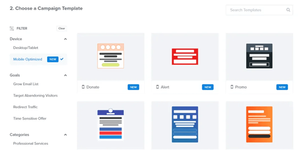 Mobile Exit-Intent template