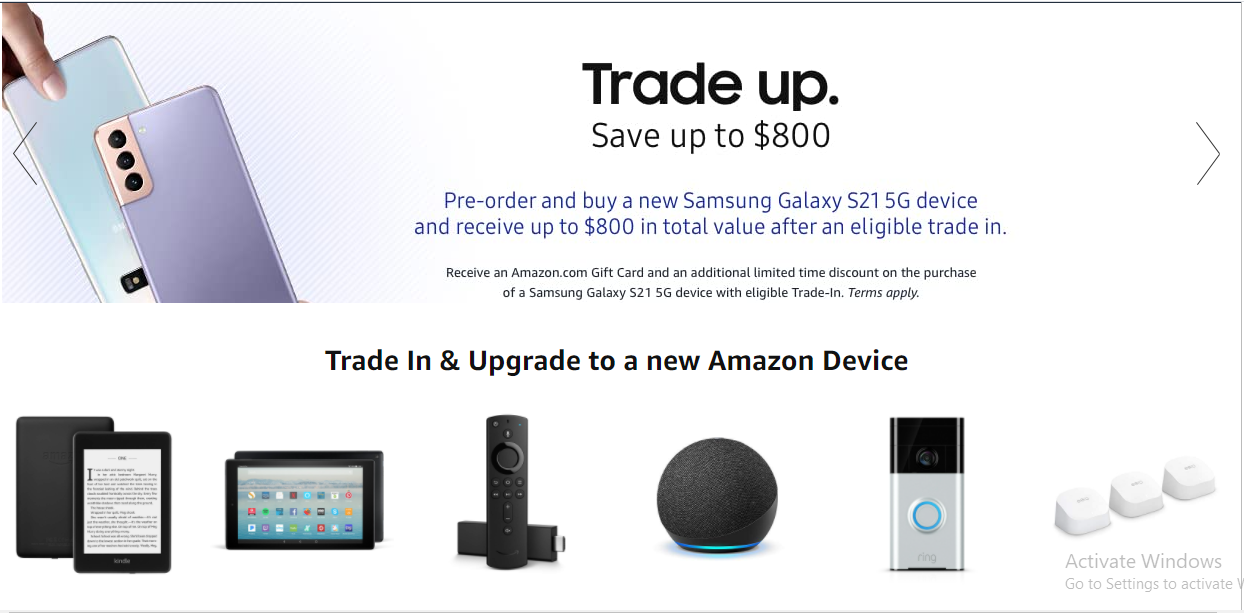 Amazon Trade-In to earn Amazon gift cards