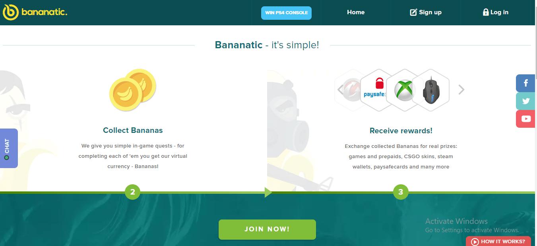 Earn gift cards with Bananatics