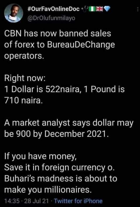 experts predicted the Naira will rise by 925 Naira per $1 in December of 2021.