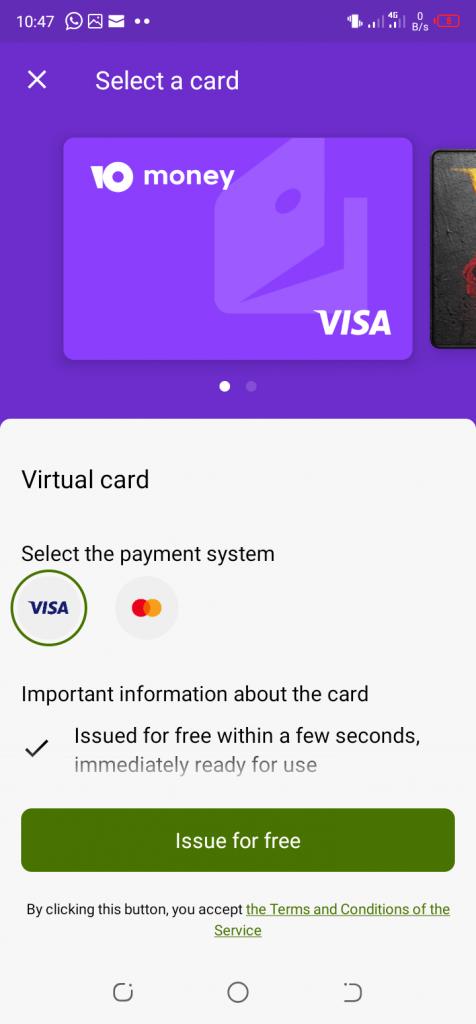 Issues free virtual credit card on YooMoney