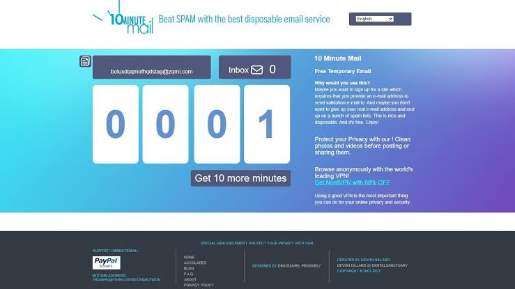 10 Minute Email Addresses